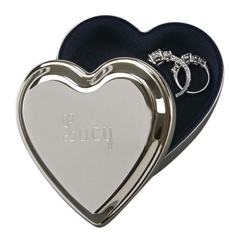 Silver Heart Jewelry Box with Velvet Lining