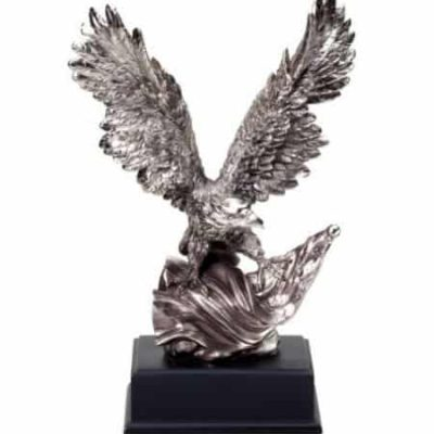 Silver Eagle Sculpture with American Flag