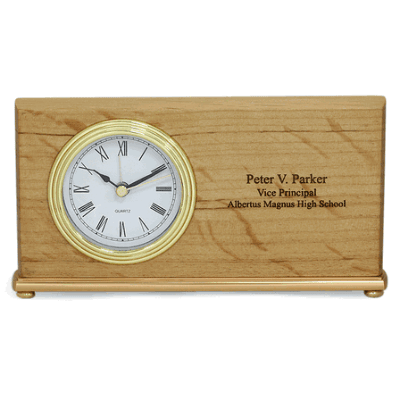 Red Alder Laser Engraved Mantle Clock