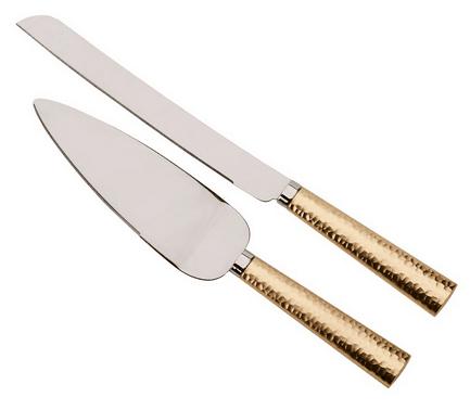 Gold Hammered Handle Knife and Server Set