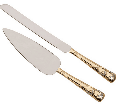 """Forever"" Gold Knife and Server Set"