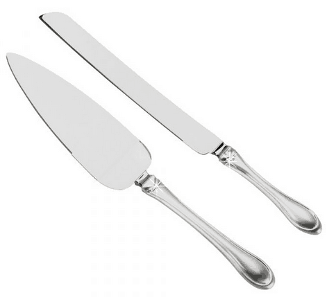Two Tone Knife and Server Set with Crystals