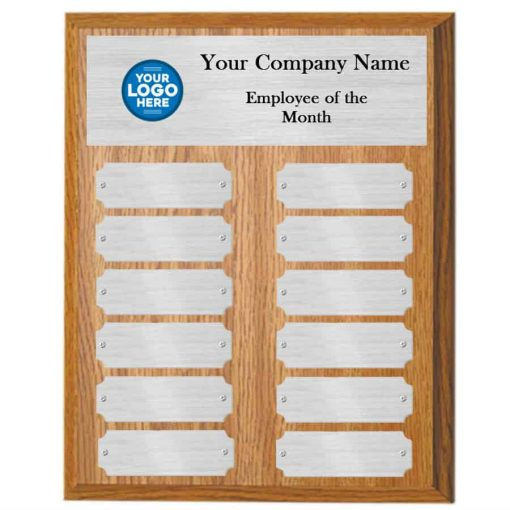 Oak and Silver Employee of the Month Perpetual Plaque