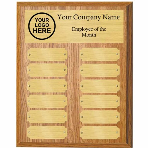 Oak employee of the month perpetual plaque with gold plates