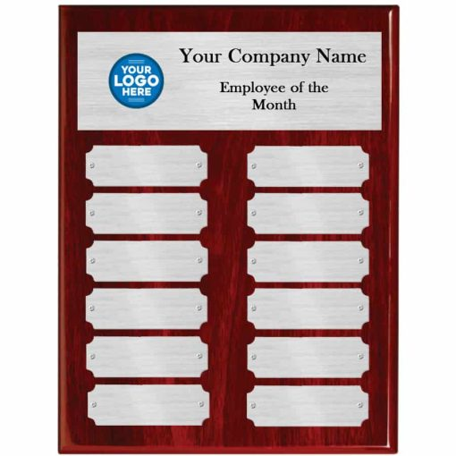 Red Piano Finish Employee of the Month Plaque with Silver Plates