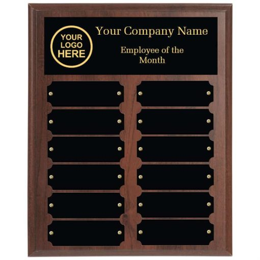 Walnut employee of the month plaque