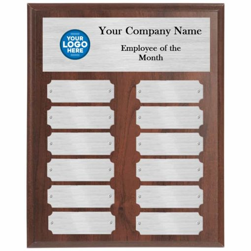 Walnut and Silver Employee of the Month Perpetual Plaque