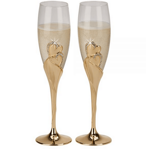 Forever Gold Wedding Flute Glasses