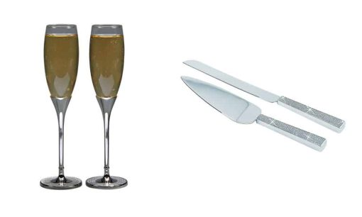 Glitter Toasting Flutes and Wedding Caker Servers