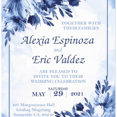 Blue & White Flower Elegant Metal Wedding Invitation